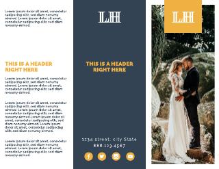 Yellow & Navy Checkerboard Wedding Brochure Template