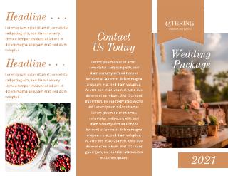 Orange Wedding Catering Brochure Template