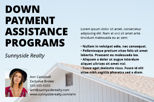Down Payment Postcard Template