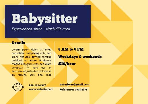 Detailed babysitter flyer template