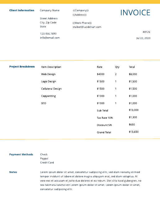 Minimal professional invoice template