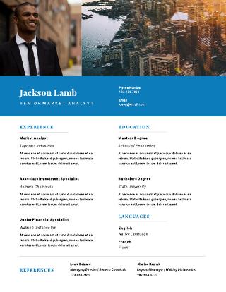 Blue cityscape resume template