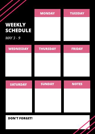 Green weekly schedule template
