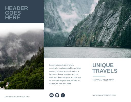 Blue and White Alaska Travel Brochure Template