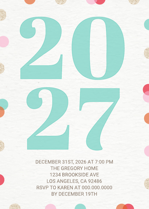 New Years Party Invitation 01 (5x7)