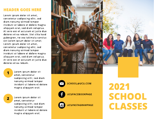 Yellow and Black College Brochure Template