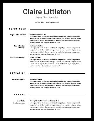 Black & white resume template