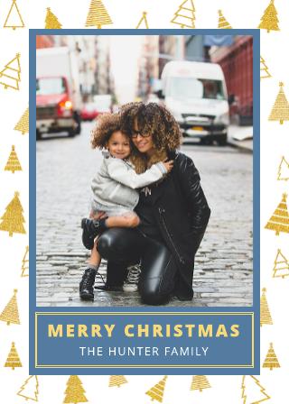 Gold Trim Christmas Card Template (5x7)
