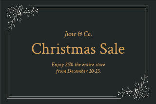 Gold Christmas Sale Gift Certificate Template