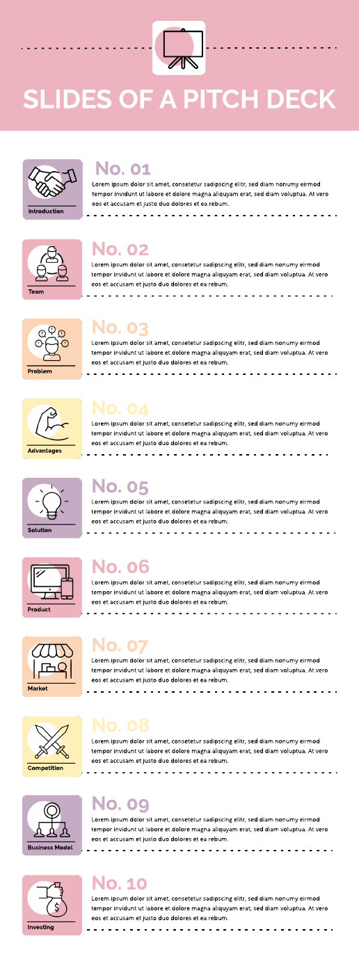 Business pitch presentation infographic template