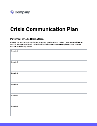 Crisis communication plan template