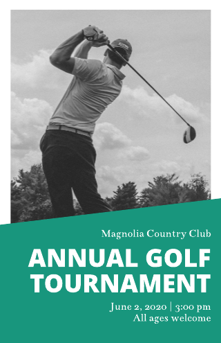 Green and grey golf tournament poster template