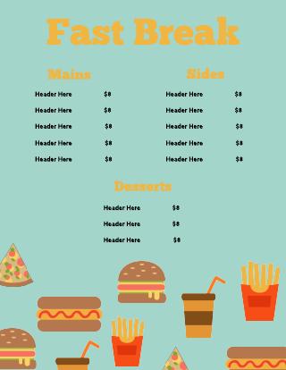Green Fast Food Diner Menu Template