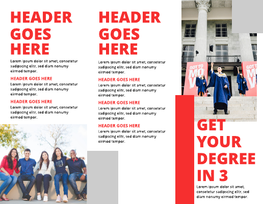 Bold Red and White College Brochure Template