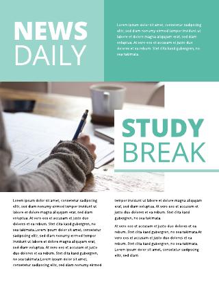 Blue Tones and Blocks School Newsletter Template