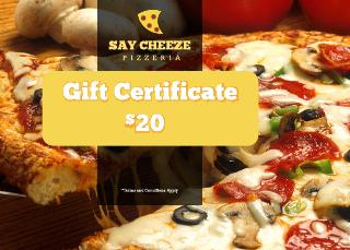 Pizzeria Restaurant Gift Certificate Template