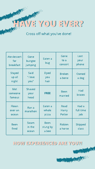 Instagram story have your ever bingo template