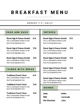 Modern Breakfast Cafe Menu Template