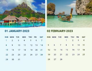 Beach monthly calendar template
