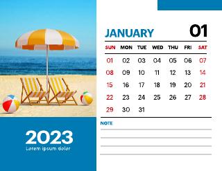 Beach Calendar 2022 Template
