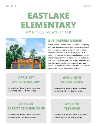 Green and Grey Elementary School Newsletter Template