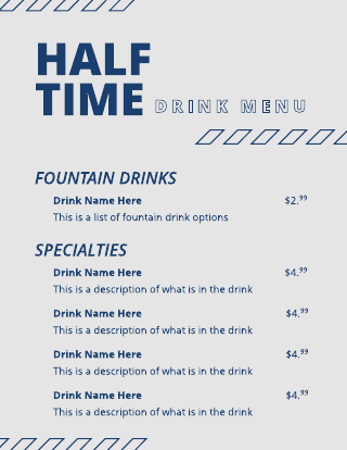 Grey and Blue Drink Menu Template