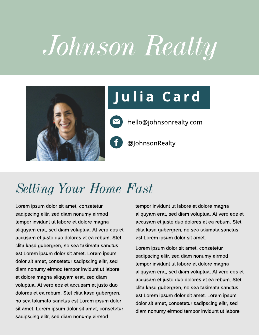 Green and Blue Real Estate Newsletter Template