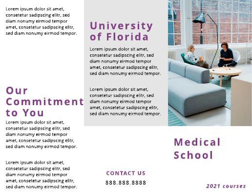 Simple Purple Medical School Brochure Template