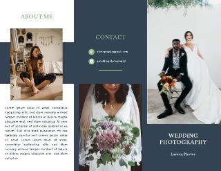 Navy Blue Wedding Photographer Brochure Template