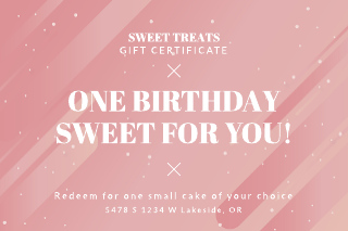 Bakery birthday gift certificate template