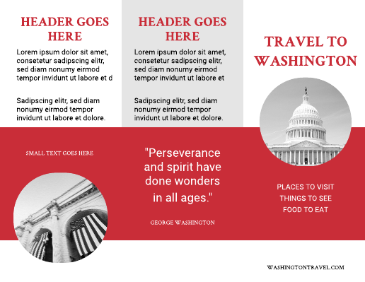 Red and White Washington DC Travel Brochure Template