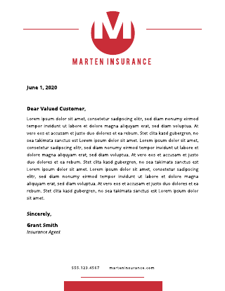 Insurance letterhead template
