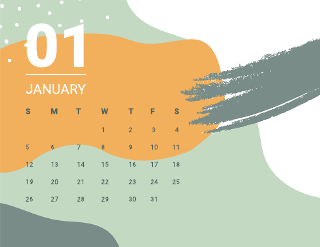 Shapes monthly calendar template