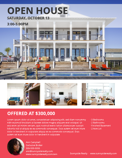 Waterfront Open House Flyer Template