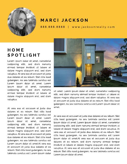 Yellow Home Spotlight Real Estate Newsletter Template