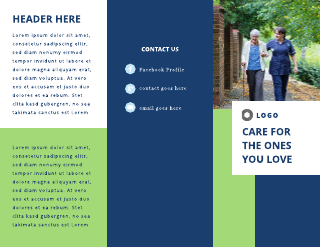 Blue and Green Elderly Home Tri-Fold Brochure Template