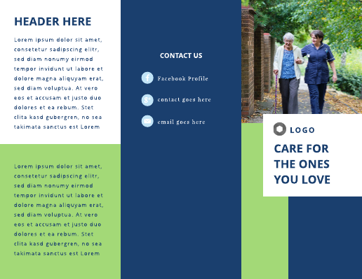 Blue and Green Elderly Home Brochure Template
