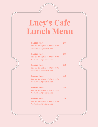 Simple Pink Cafe Menu Template