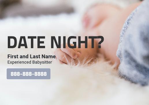 Minimal babysitting flyer template