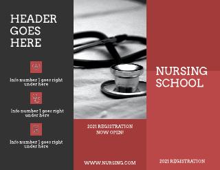 Maroon and Grey Nursing School Medical Tri-Fold Brochure Template