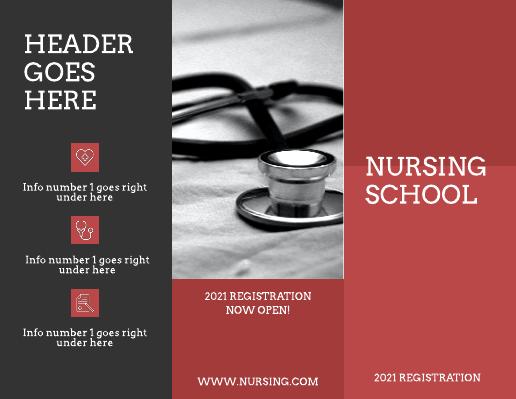 Maroon and Grey Nursing School Medical Brochure Template