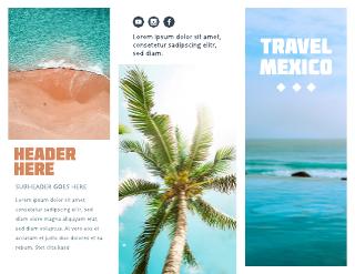 Large Photo Mexico Travel Tri-Fold Brochure Template