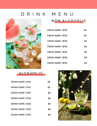 Pink Two Photo Drink Menu Template