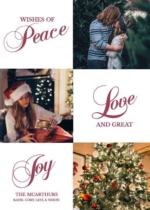 Peace, Love, Joy Holiday Card Template