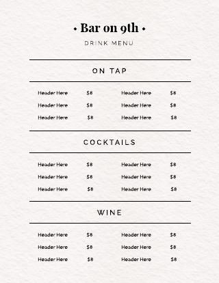 Simple Drink Menu Template
