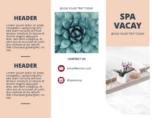 Spa Vacation Travel Brochure Template