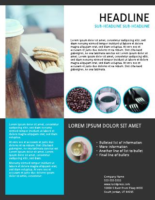 Smart cobalt cafe flyer template