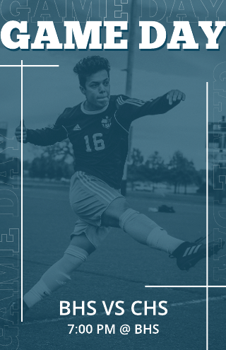 Blue soccer game day poster template