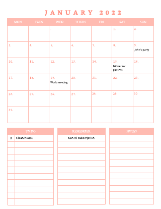 2022 Monthly Calendar Template