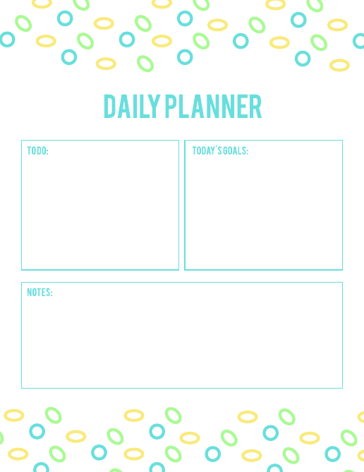 Bright daily schedule template